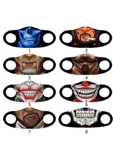 Angelino Butik Moda Maske Joker Baskı No 23 Yıkanabilir Yetişkin Yüz Maskesi Renkli